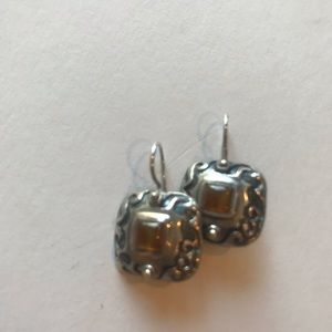 "Silpada silver earrings with ""amber"" stone"